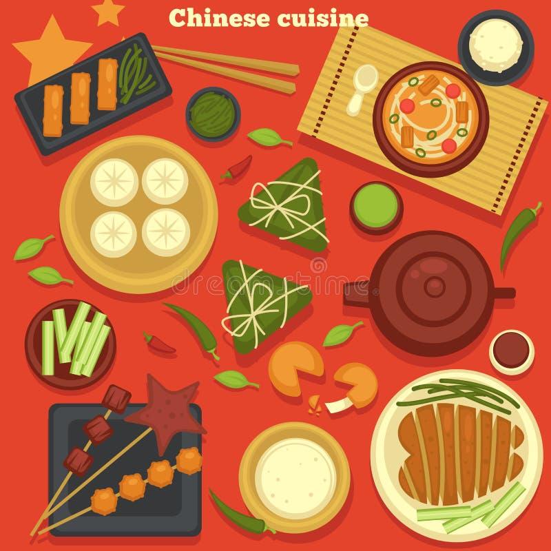 Chińscy kuchni owoce morza i kluchy zielonej herbaty naczynia ilustracji