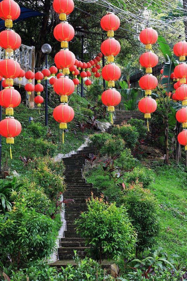 Chińscy lampiony przy chińską świątynią fotografia royalty free
