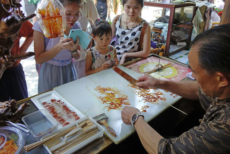 Chińscy ludowi rękodzieła, Cukrowy obraz obraz royalty free