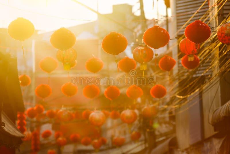 Chińscy nowy rok lampiony w porcelanowym miasteczku obrazy royalty free