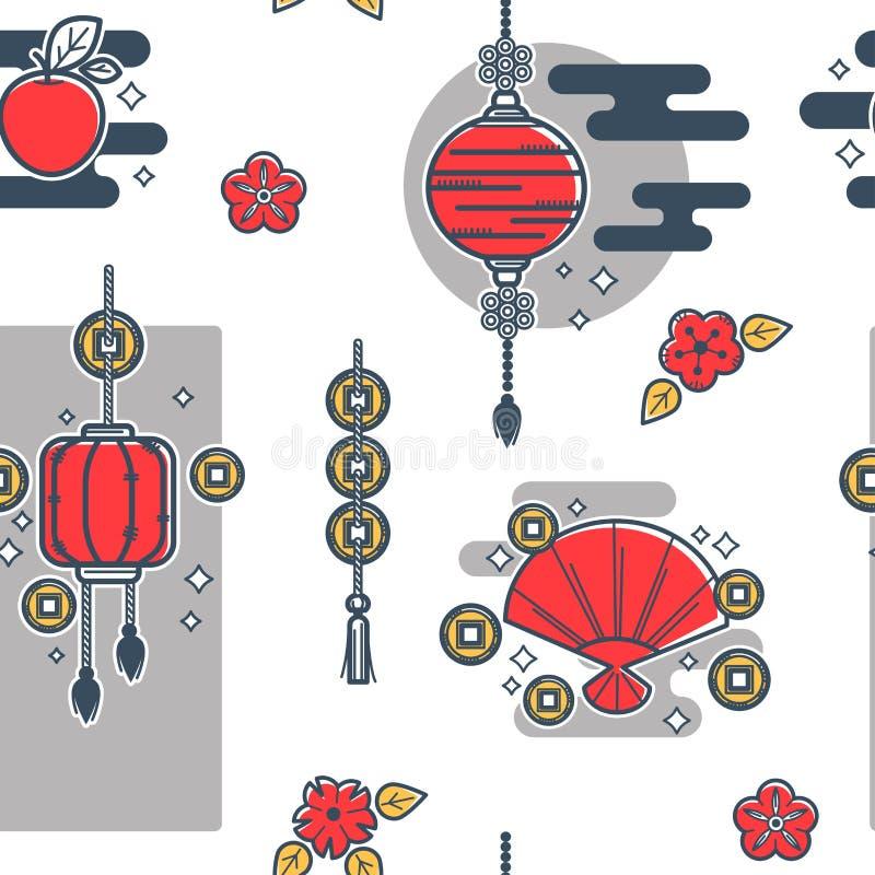 Chińscy papierowi lampiony, tradycyjny azjata zaświecają bezszwowego wzór royalty ilustracja