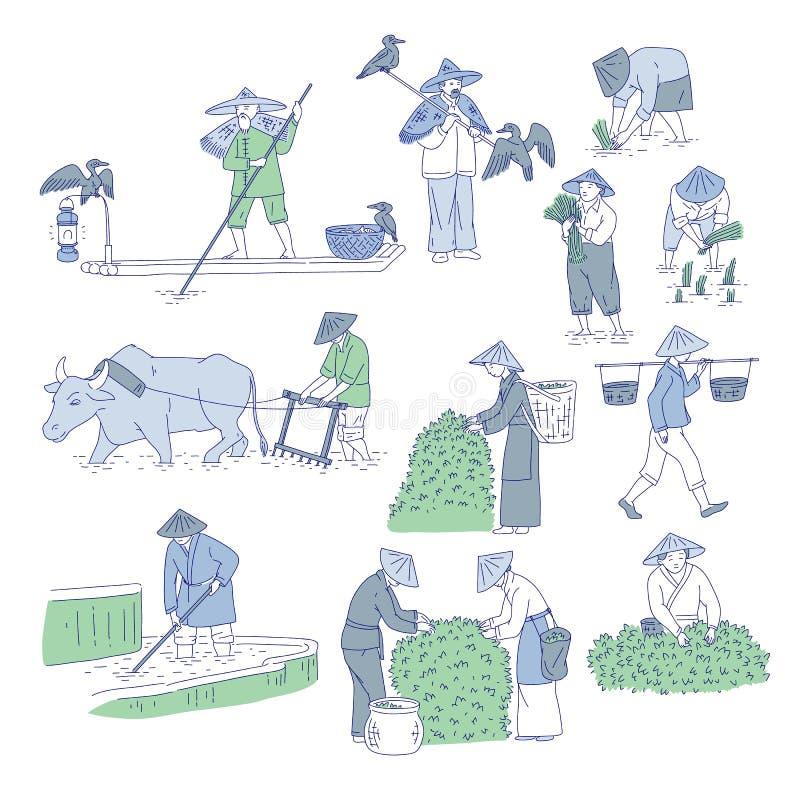 Chińscy rolnicy i rybacy w tradycyjnych kostiumach Wektorowi kreskowej sztuki ustaleni ludzie zasadzają ryż, r herbaty i iść łowi ilustracji