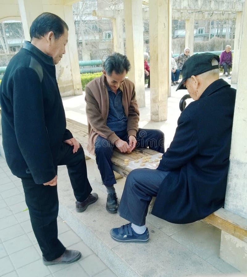 Chińscy seniory bawić się szachy obraz stock