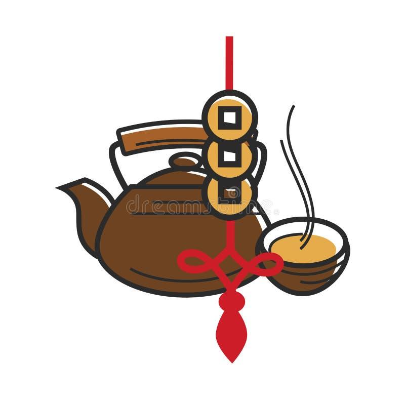Chińscy symbole Porcelanowa herbata i szczęsliwe złociste monety ilustracji