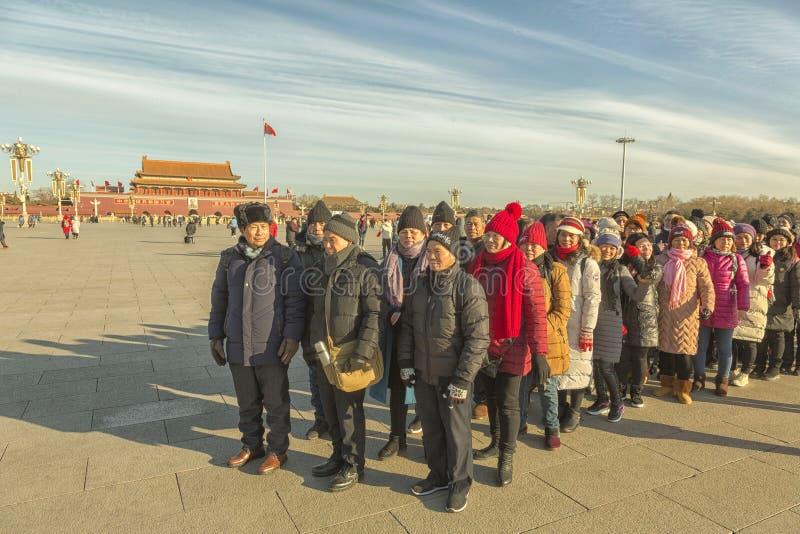 Chińscy turyści przy plac tiananmen w Pekin fotografia royalty free
