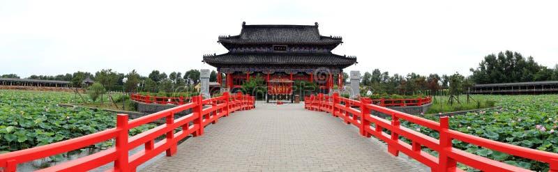Chińska świątynia panoramiczny widok obraz stock