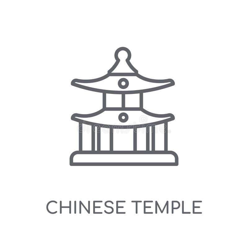 Chińska Świątynna liniowa ikona Nowożytnego konturu Chiński Świątynny logo c royalty ilustracja