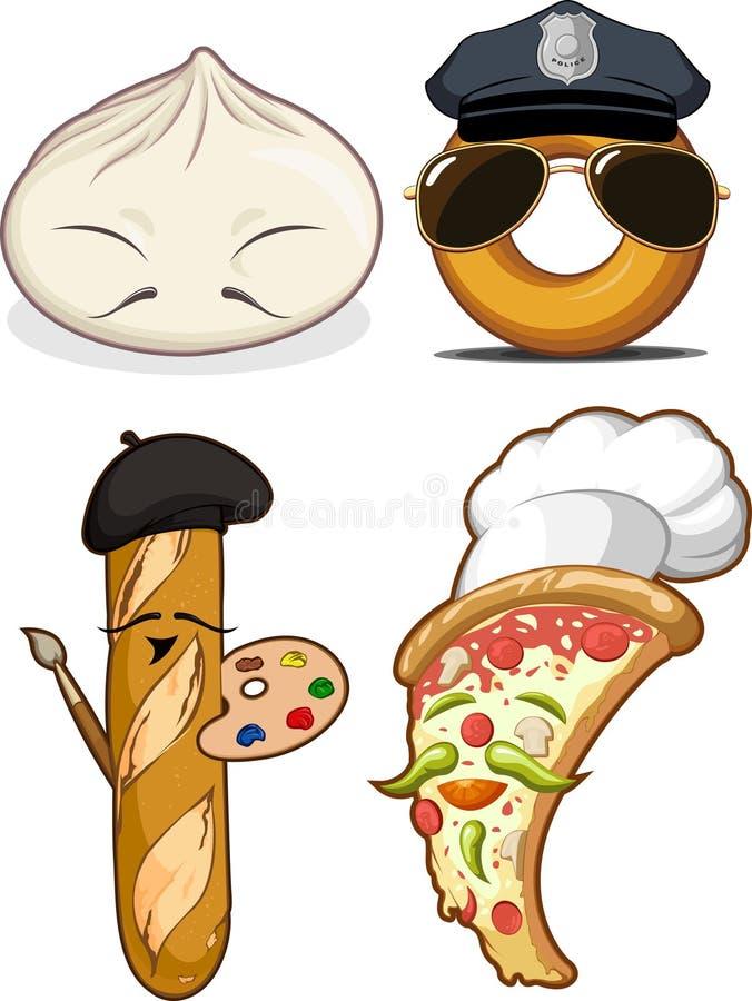 Chińska Babeczka Francuski Chleb Pizza & Pączek, royalty ilustracja