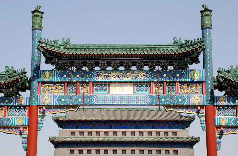 chińska Beijing brama qianmen kwadratowego Tiananmen zdjęcie royalty free