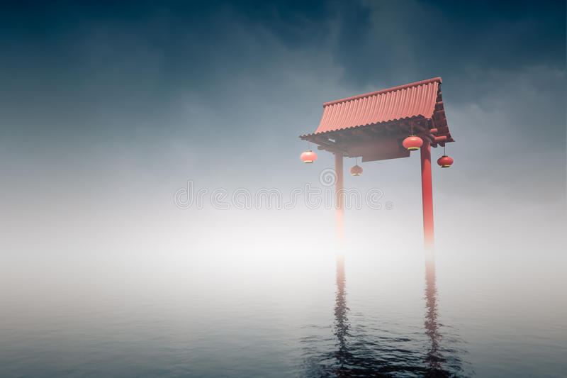 Chińska brama w lagunach royalty ilustracja