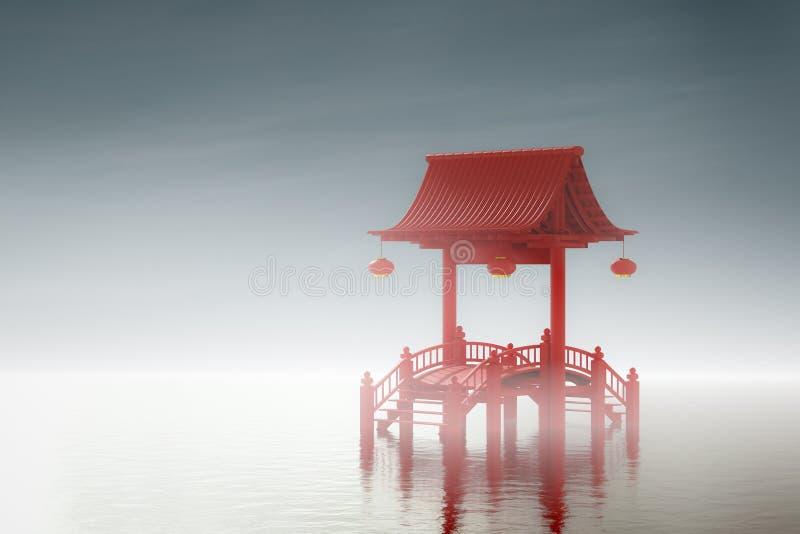 Chińska brama w lagunach ilustracja wektor