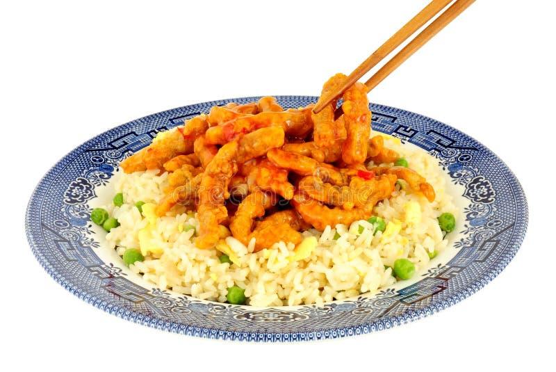 Chińska Crispy chili wołowina Z Jajecznym Rice fotografia stock