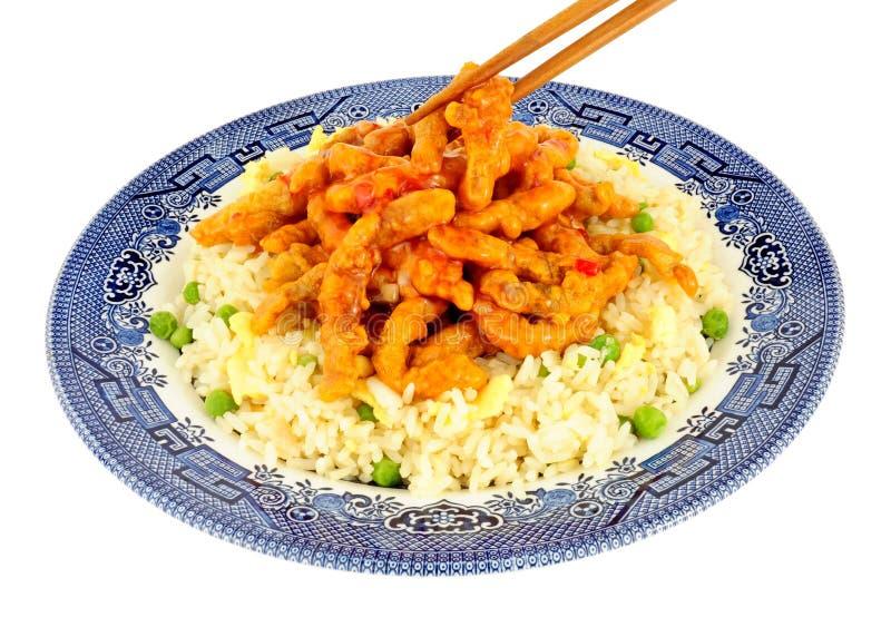 Chińska Crispy chili wołowina Z Jajecznym Rice obraz royalty free