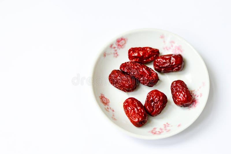 Chińska Czerwona jujuba Odizolowywająca na Białym tle z kopii przestrzenią fotografia royalty free