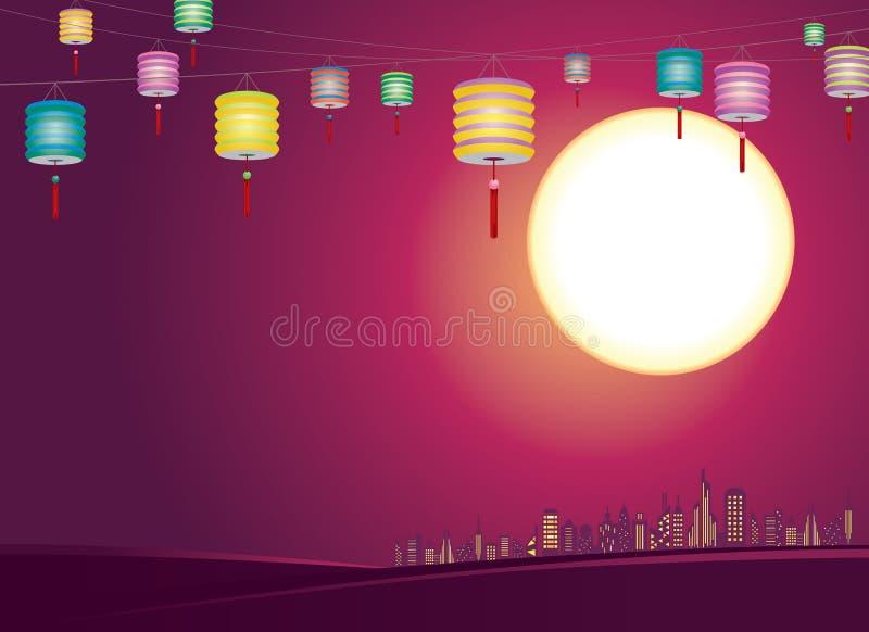 Chińska jesień lampionów miasta linia horyzontu - Illustr ilustracja wektor