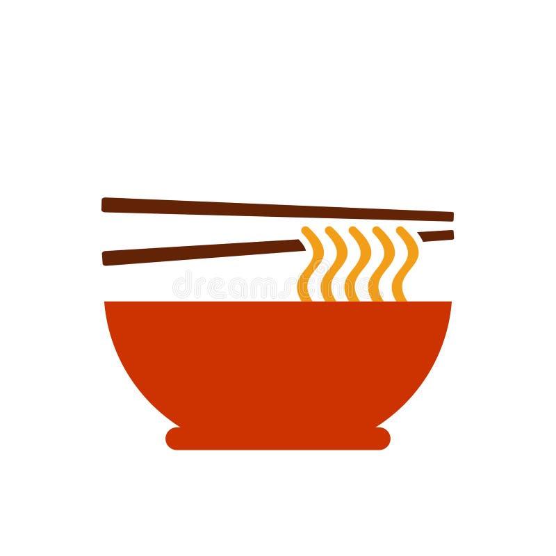 Chińska kluski ikona, Wietnamska pho wektoru ilustracja ilustracji