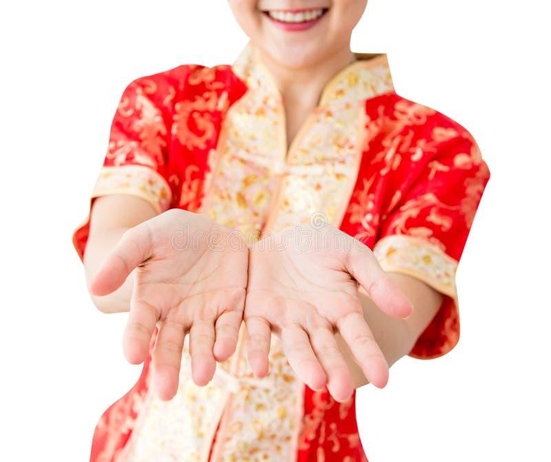 Chińska kobieta z pustymi rękami obraz stock