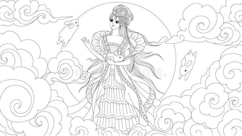 Chińska księżyc bogini z ślicznymi królikami dla projekta elementu i kolorystyki książki strony dla antego stresu również zwrócić ilustracja wektor