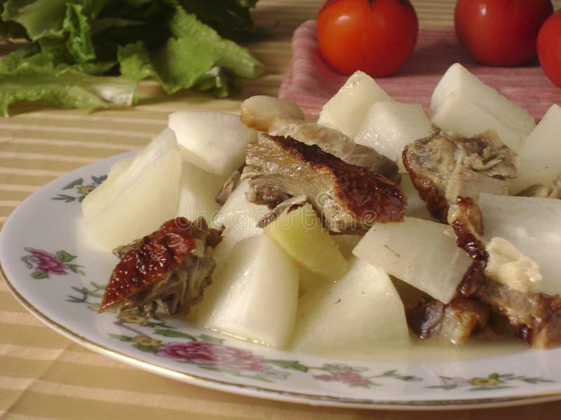Chińska kuchnia piec kaczki rzodkwi gulasz fotografia stock