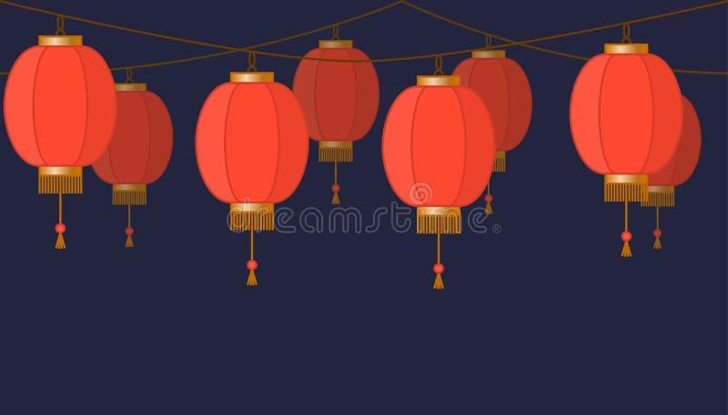Chińska lampionu łańcuchu girlanda, czerwone azjatykcie tradycyjne papierowe lampy na ciemnym tle, czarodziejscy światła, stopka  ilustracji