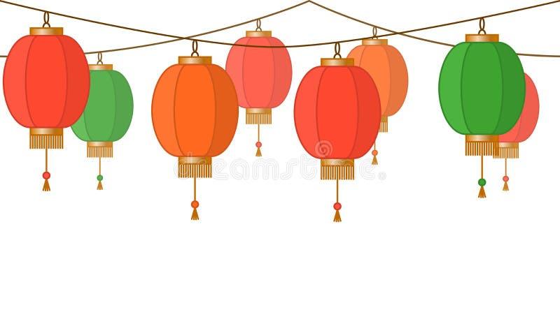 Chińska latarniowa girlanda, kolorowy azjatykci tradycyjny papierowy lampa łańcuch bez tła, czarodziejscy światła, stopka i sztan ilustracji