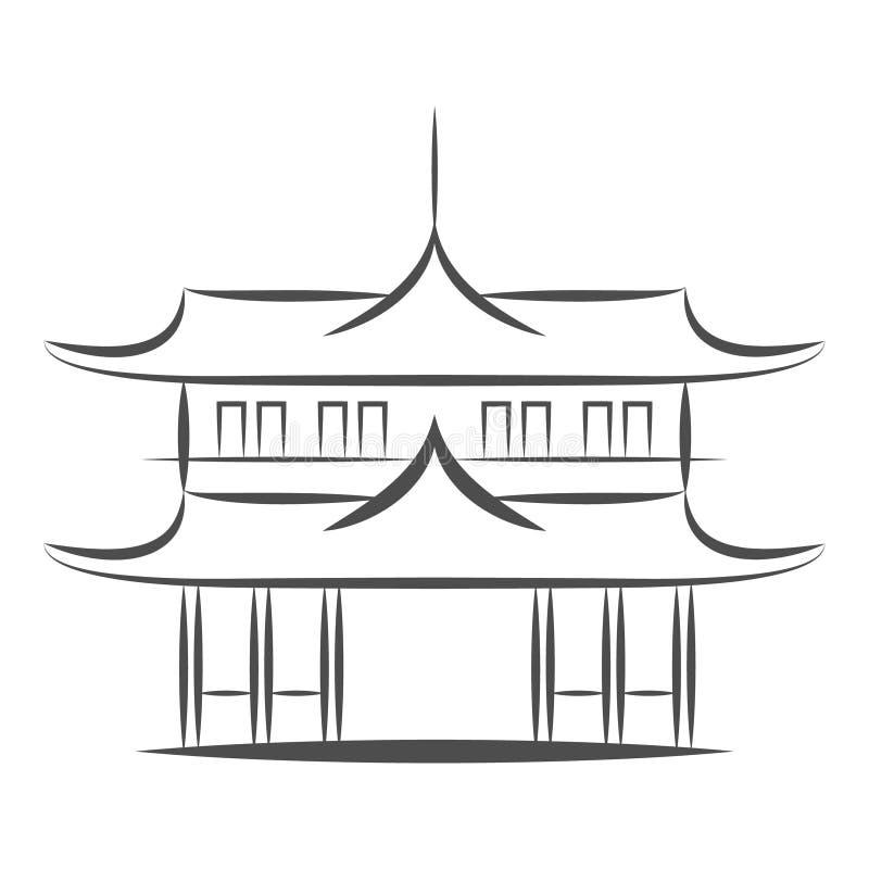 Chińska lub japońska Pagodowa budynku wektoru ikona Mieszkanie znak dla mobilnego pojęcia i sieć projekta Azjatycka świątynna arc royalty ilustracja