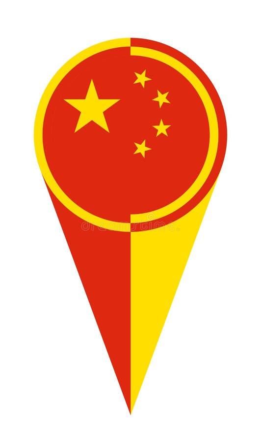 Chińska mapa pointeru lokacji flaga ilustracja wektor