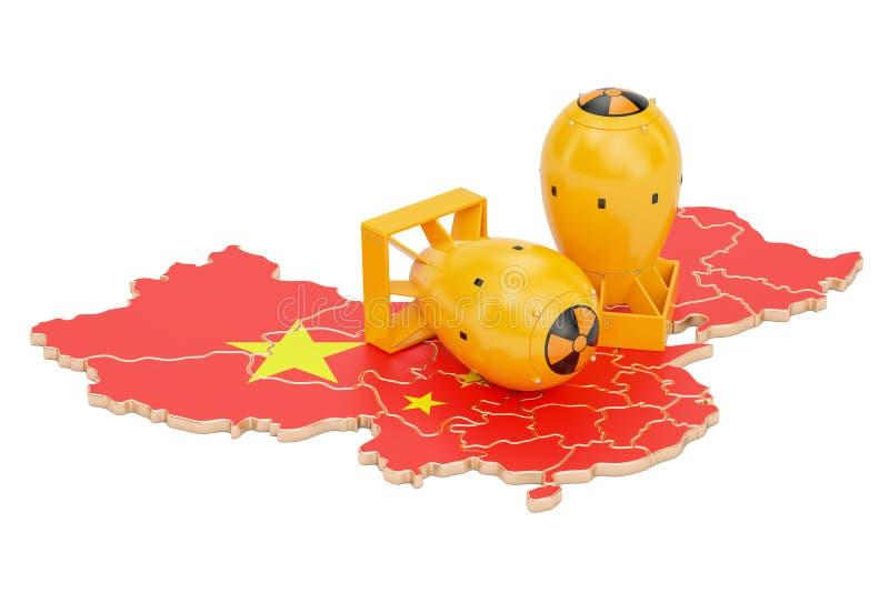 Chińska mapa z jądrowej broni pojęciem, 3D rendering ilustracja wektor