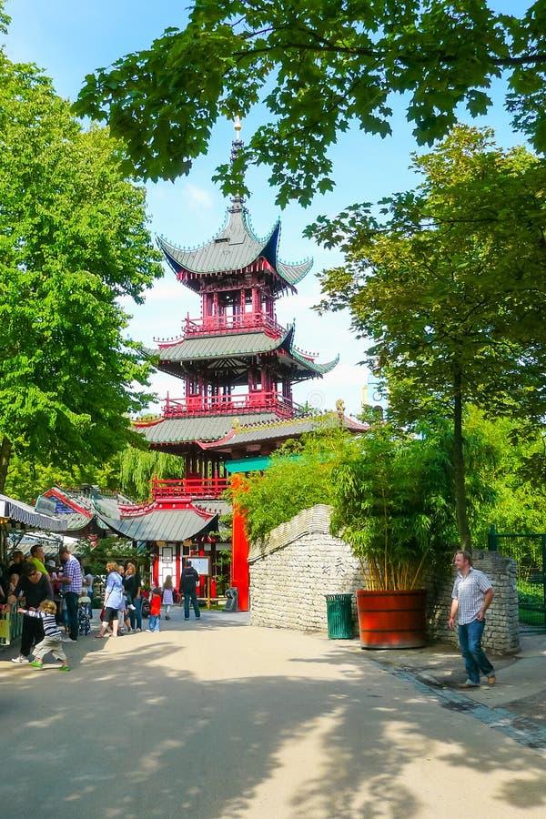 Chińska pagoda w Tivoli ogródach Kopenhaga Dani zdjęcie stock