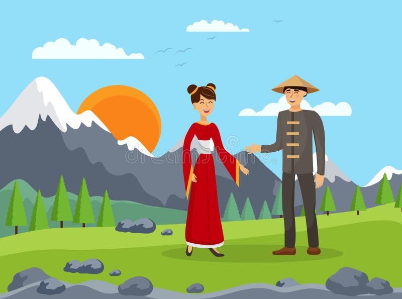 Chińska pary, męża i żony mieszkania ilustracja, ilustracja wektor