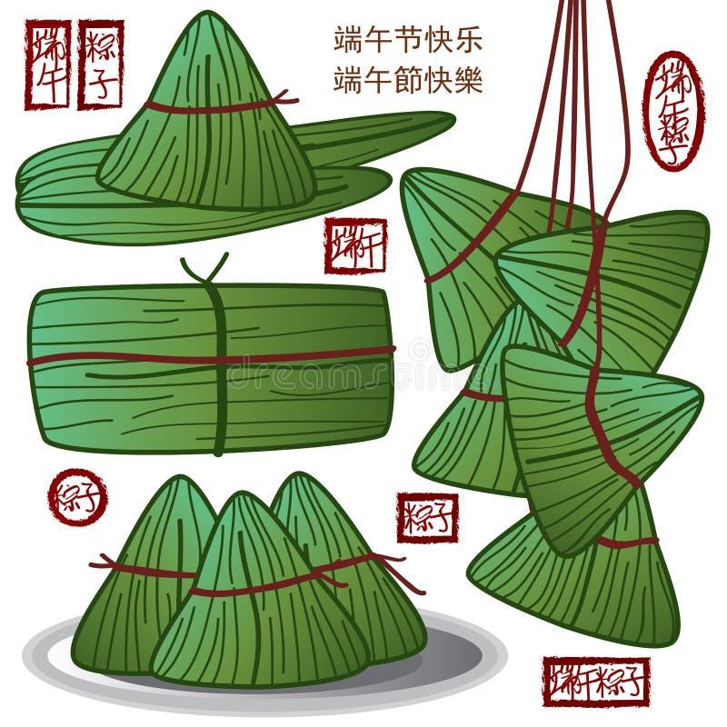 Chińska smok łodzi festiwalu jedzenia zieleń royalty ilustracja