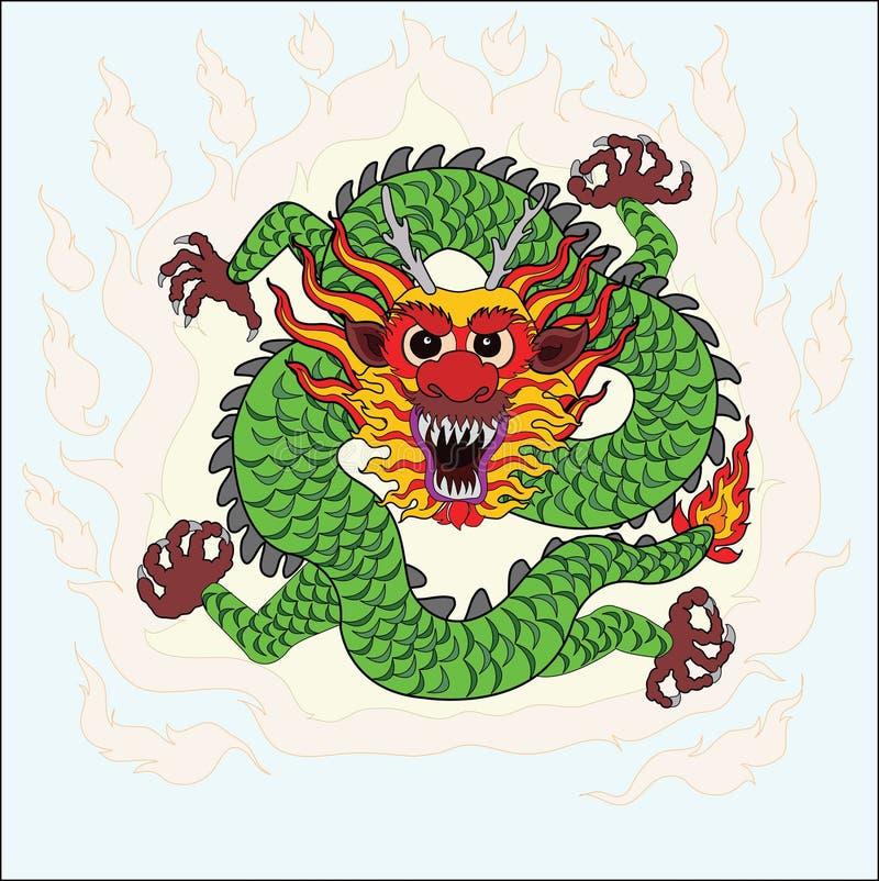 Chińska smok ręki remisu sztuka royalty ilustracja