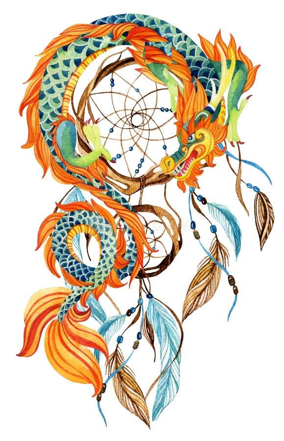 Chińska smoka i dreamcatcher karta ilustracja wektor