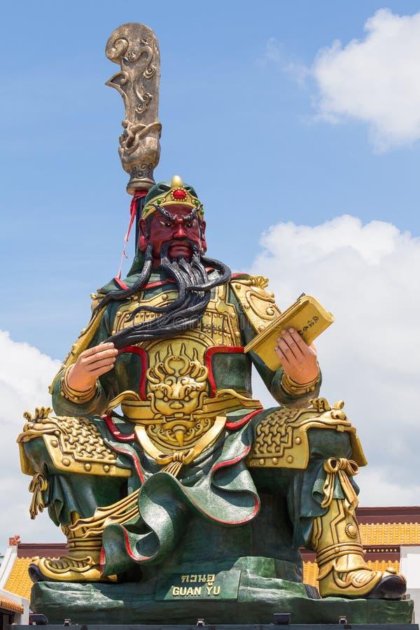 Chińska statua Guan Yu w wyspy Koh Samui, Tajlandia obrazy stock