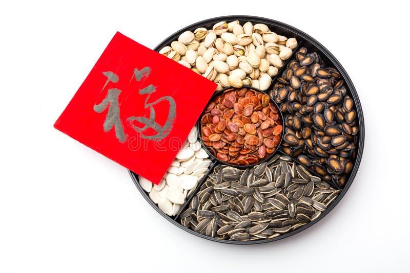 Chińska sytle przekąski chińczyka i tacy kaligrafia, znaczy dla bl obrazy royalty free