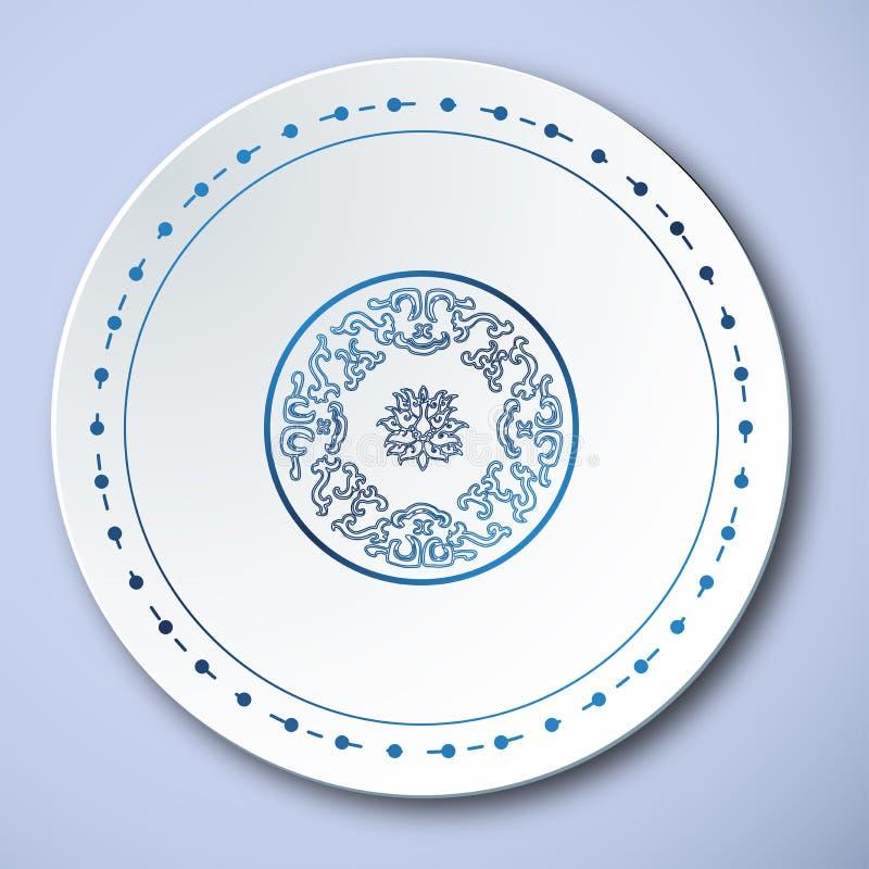 Chińska Tradycyjna porcelana, chmura I niebo Błękitni I Biali, ilustracja wektor