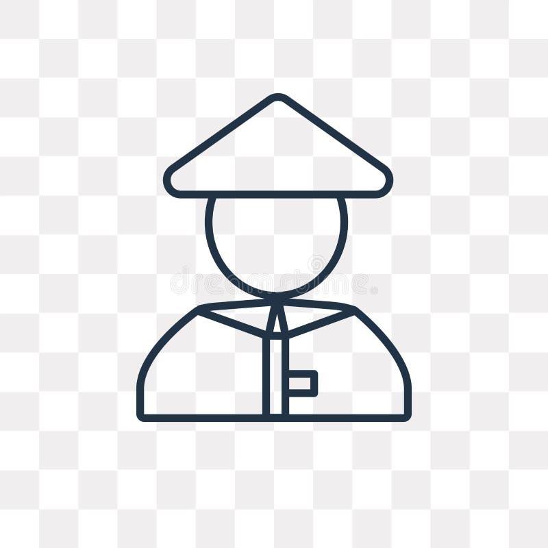 Chińska wektorowa ikona odizolowywająca na przejrzystym tle, liniowy C royalty ilustracja