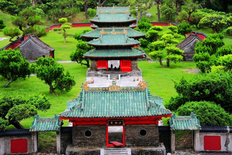 Chiński antyczny luksusu dom w Prześwietnym Chińskim kultura parku tematycznym obrazy royalty free