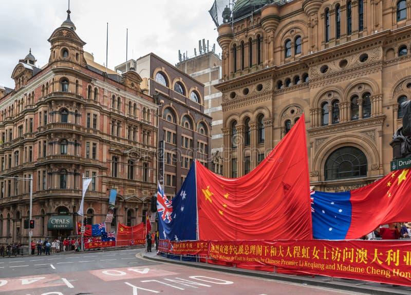 Chiński australijczyka powitanie najważniejszy Li Keqiang, Sydney Australia fotografia stock