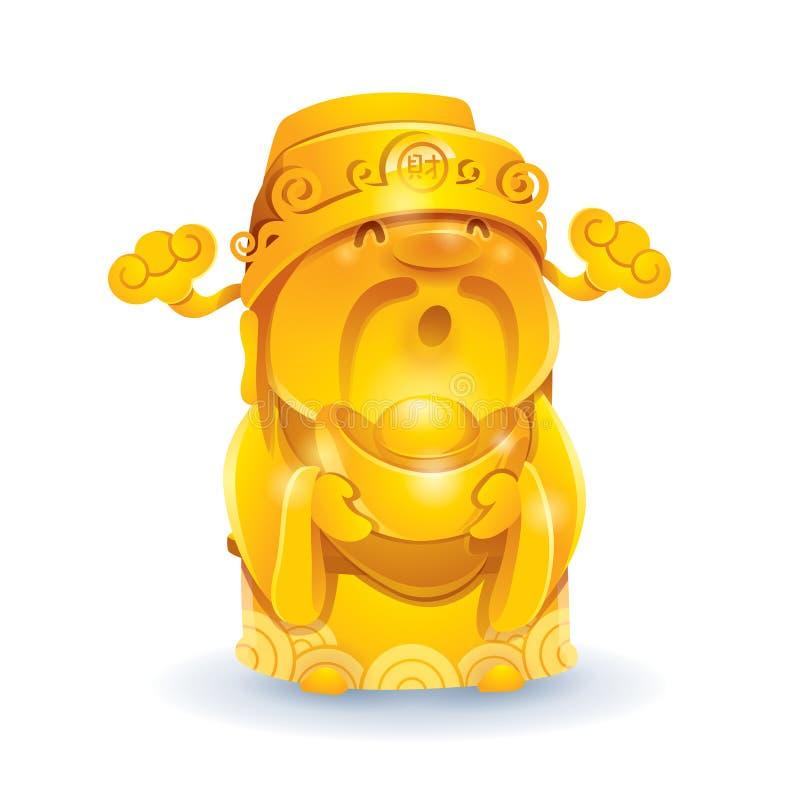 Chiński bóg bogactwo - Złoty ilustracja wektor
