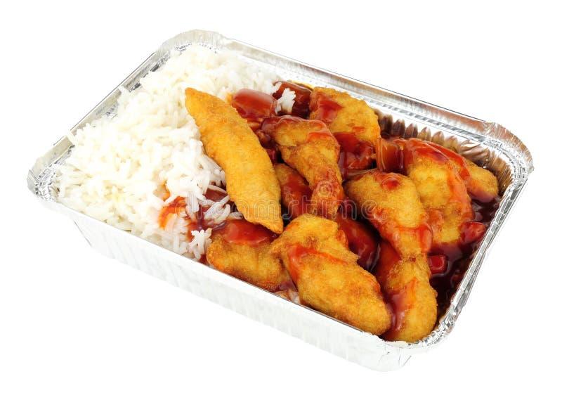 Chiński cukierki I Powyginany kurczak Rice I fotografia royalty free