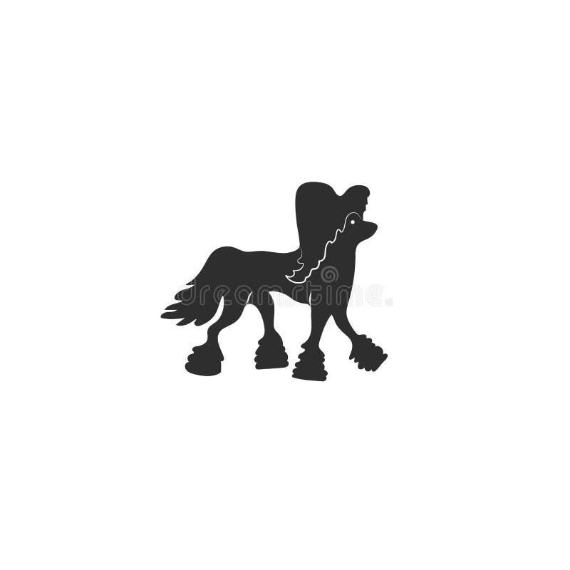 Chiński czubaty dla różnego projekta Śliczny rodzina pies Prosty sylwetka piktogram r?wnie? zwr?ci? corel ilustracji wektora ilustracja wektor