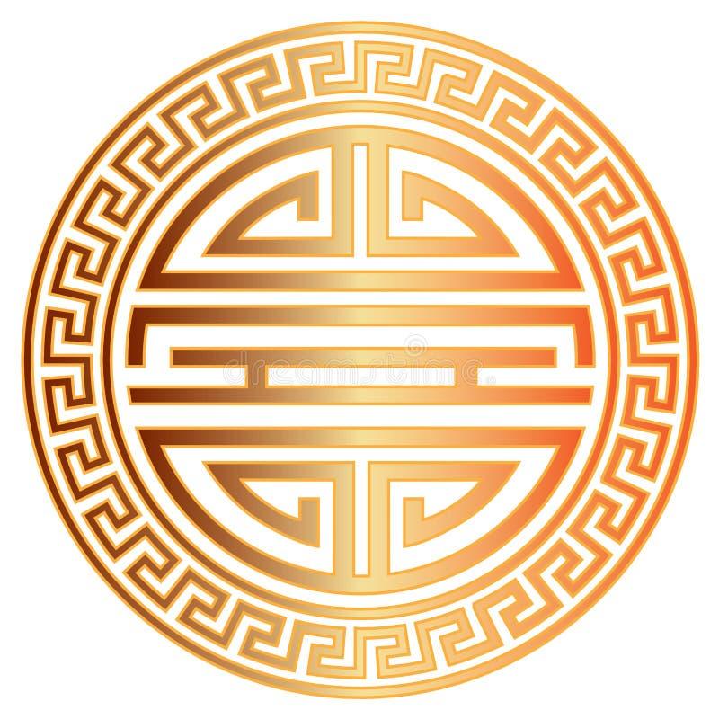 Chiński długowieczność symbol z Rabatową wektorową ilustracją ilustracja wektor