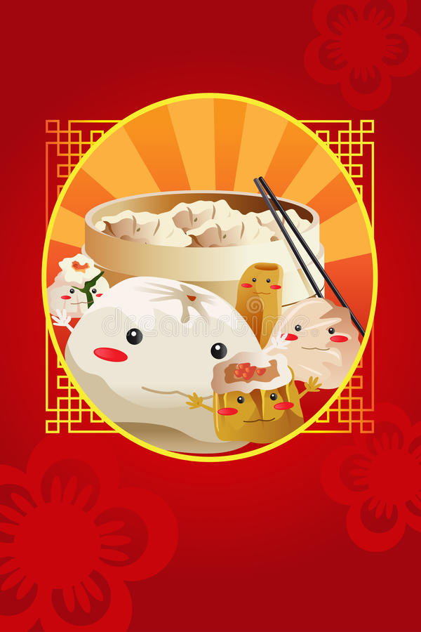Chiński dim sum, używać dla restauracyjnej menu pokrywy ilustracja wektor