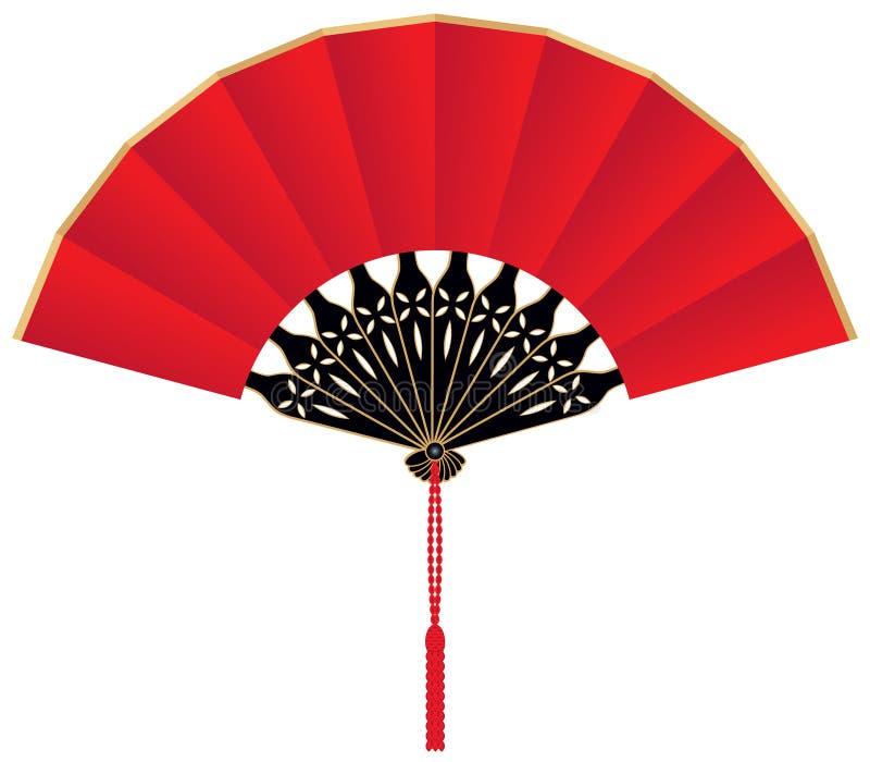 chiński fan czerwieni jedwab royalty ilustracja