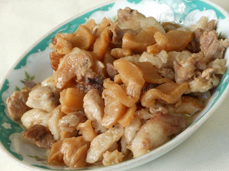 Chiński główny kurs braised kiszonej rzepy z wieprzowiną fotografia stock