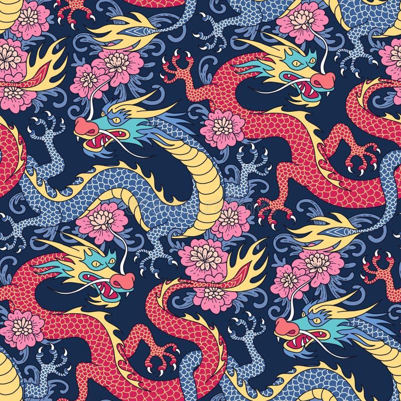 Chiński gragons wzór ilustracji