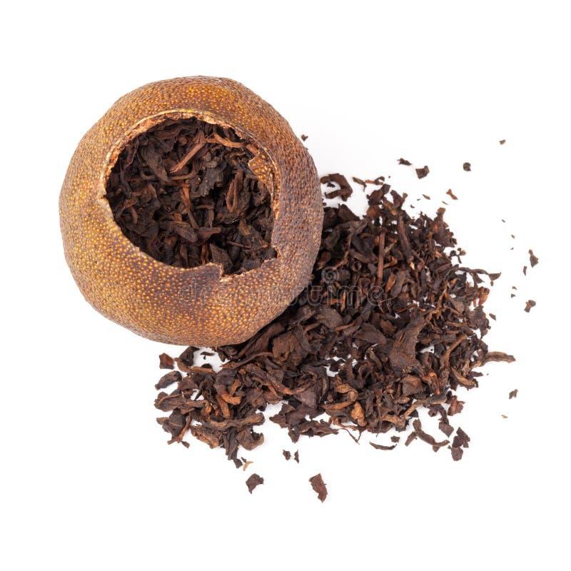 Chiński herbaty Pu w wysuszonej mandarynce zdjęcie stock