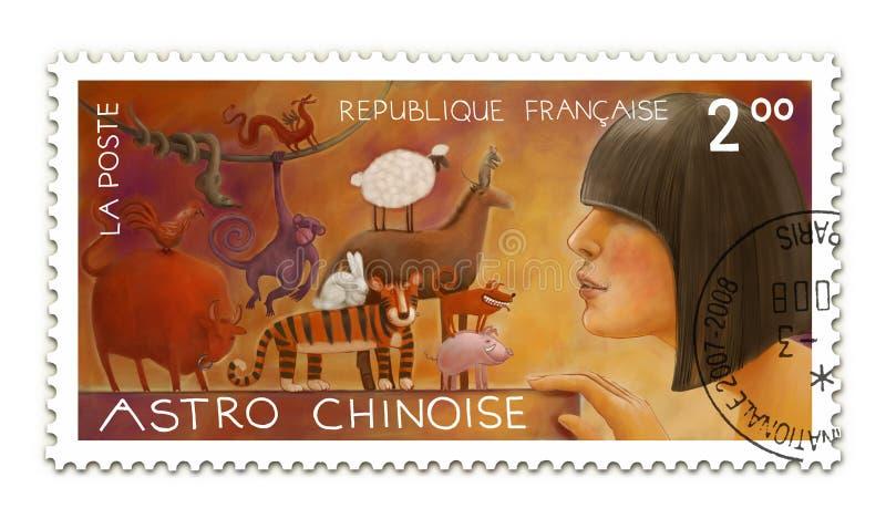 Chiński horoskop poczta znaczek royalty ilustracja