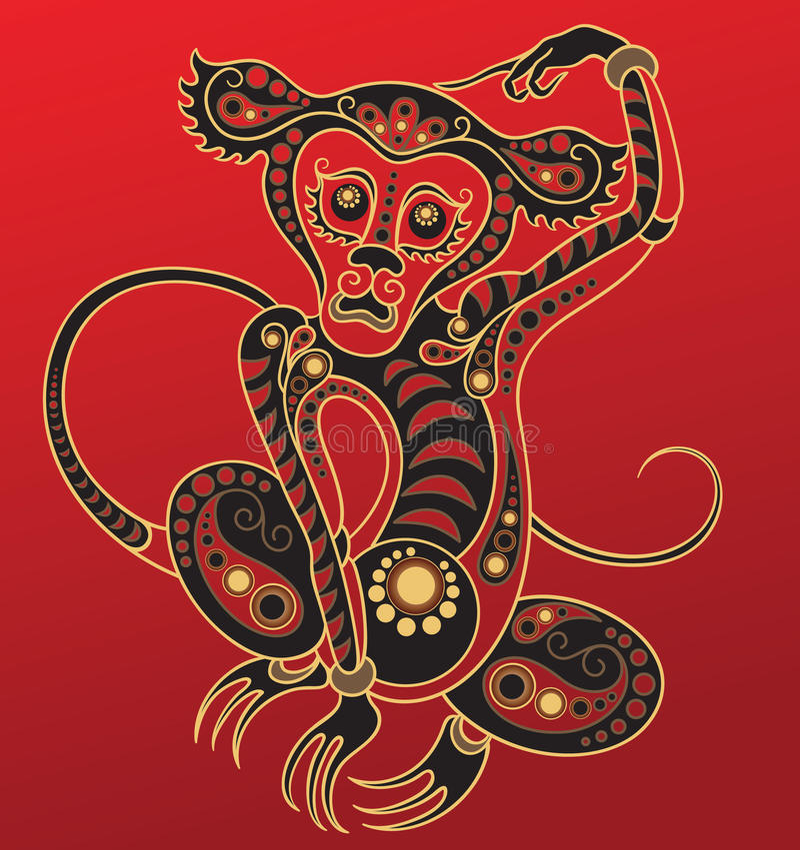 chiński horoskopu małpy rok ilustracja wektor